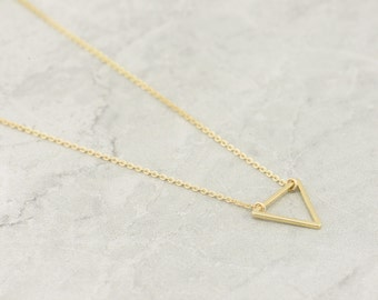Mini Gold Triangle Necklace, Floating Triangle Necklace, Minimal, Delicate Necklace, Gold Triangle 14k Gold Filled, Valentines Day