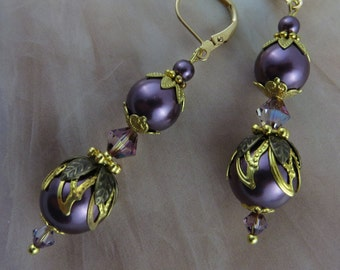 ANTIQUE GOLD PURPLE Crystal Earrings Eggplant Pearl Brass Bronze Earring Jewelry Jewellery Wedding Anniversary Gift for Her MaChericomau