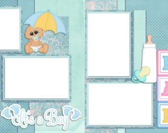 New Baby Boy - Digital Scrapbook Quick Pages - INSTANT DOWNLOAD