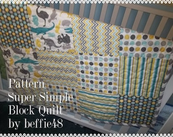 Super Simple Block Quilt Pattern Tutorial, pdf, with photos