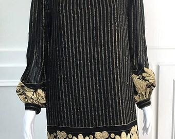 1979s/80s Fabulous Black and Gold Vintage Mollie Parnis Studio Dress--Sz. 12 (SKU 10351CL)