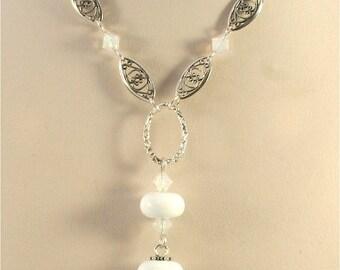Handmade Lampwork  Necklace - Silver, White, Purple, Green - SRAJD