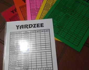 Yardzee Score Sheet - Score Card - Reusable Score Card - Score Sheet - Yard Yahtzee - Block Party