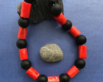 Coral | Matte Onyx | Sterling Silver | One of a Kind | 18""