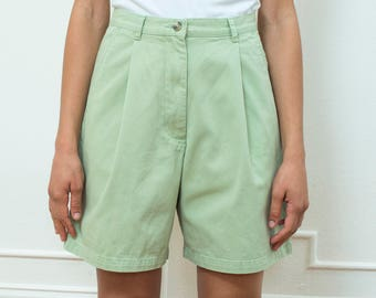 green shorts | green cotton shorts | mint green shorts | light green shorts | green twill shorts | high waisted shorts | 80s green shorts