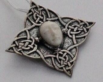 Carved Bone Pendant Woman Silver Celtic Knots