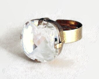 Clear crystal 16mm fancy rounded square Swarovski crystal ring,antique bronze pl.,beautiful sparkly solitaire ring
