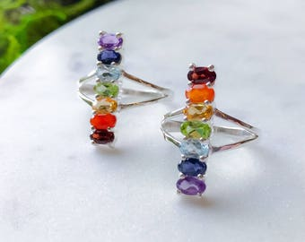 Chakra Ring with Gemstones in Sterling Silver