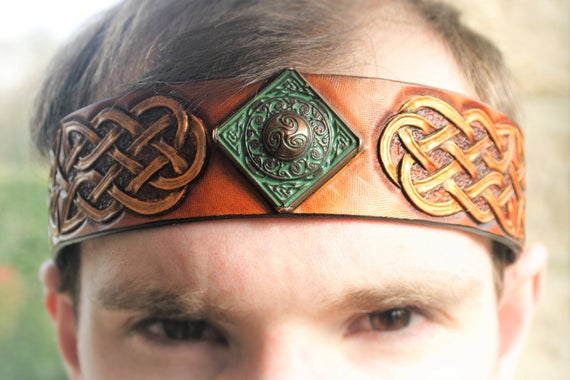 Headband headband Celtic viking fantasy leather tooled