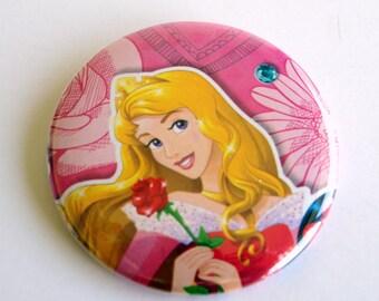 10 Upcycled Disney Princess Button - Princess Party Favor - Princess Birthday Party - Princess Aurora Favors - Aurora Party Favors