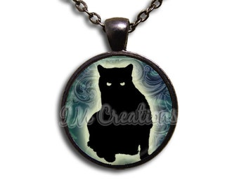 Black Cat Sinister Glass Dome Pendant or with Chain Link Necklace HD127