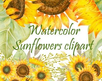 Sunflower clipart Watercolor sunflowers clipart Hand painted flowers clipart Wedding clipart Botanical Vintage Floral Wreath bouquets