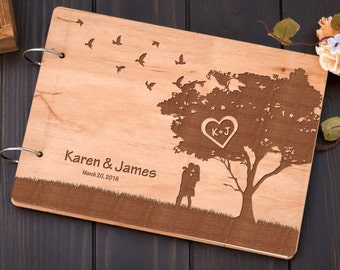 Custom Wedding Guest Book, Engraved Wedding Notebook, Rustic Wedding Guestbook, Wooden Bridal Shower Book, Wedding Memory Book,