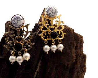 Gold plated earring,pearl earring,black onyx&howlite earring,filigree earring,pearl beaded,valentine gift for her
