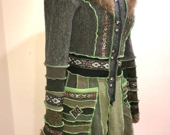 Game of thrones coat with trim work, Size S/M, Short hooded coat, fake fur hooded coat......SOLD  to Catherine