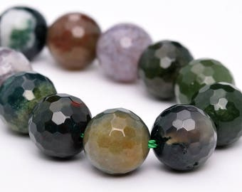 """10MM Faceted Indian Agate Natural Gemstone Half Strand Round Loose Beads 7.5"""" (100760h-323)"""