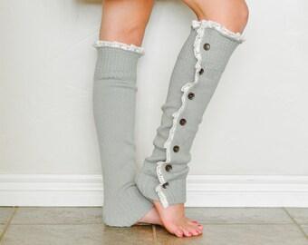 Sophie Button Down Leg Warmer in Grey.
