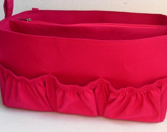 Diaper Extra Large Purse organizer for Louis Vuitton Delightful in Fuchsia fabric with elastic pockets