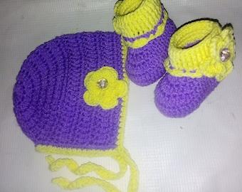 Crocheted baby girl set