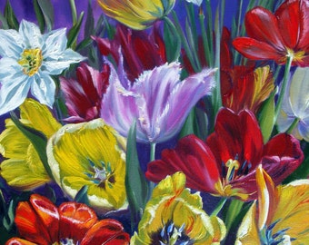 """Oil Painting """"Bright tulips"""""""