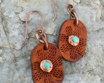 Leather Flower Earrings - Copper - Turquoise - Hand Tooled Leather - Western Jewelry - Cowgirl Earrings