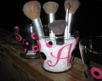 Personalized Glass Makeup Brush Holder