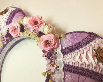 Rapunzel Inspired Mouse Ears Headband with Swarovski Crystals