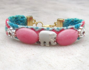 Elephant friendship bracelet, stone and Swarovski crystals embellished bracelet, pink jade stacking bracelet, good luck elephant bracelet