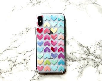 iPhone X 8 7 6s 6 Case COSMO GLOW, Rainbow Heart iPhone Case Phone Cover Sweetheart Phone Case iPhone Plus Clear Rubber Silicone Rubber Case