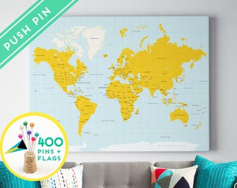 Push pin world map canvas pink color ready to hang high world map push pin canvas yellow and blue ready to hang 240 pins gumiabroncs Gallery