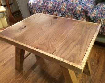Rustic table with reclaimed oak top
