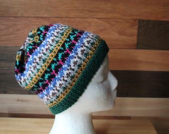Hand knitted Fair Isle beanie hat