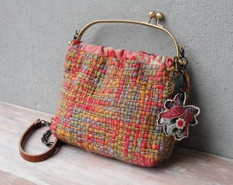 Woven Rainbow Bag, Hand Woven Bag, Flower Keychain, Mulitcolored Bag, Leather Strap, Kiss-lock