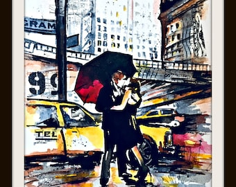 New York City Original Watercolor Painting, Wanderlust Illustration by Lana Moes, NYC Illustration Travel Mementos, Romantic