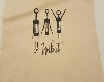 Tote Bag - I WorkOut. Bag for Life.  Adult Humour, Cotton Canvas Bag, Reusable Shopping Bag