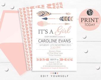 TRIBAL GIRL Baby Shower Invitation, Instant Download ARROW Girl Baby Shower Invitation, Arrow Baby Shower, Girl Baby Shower Invitations