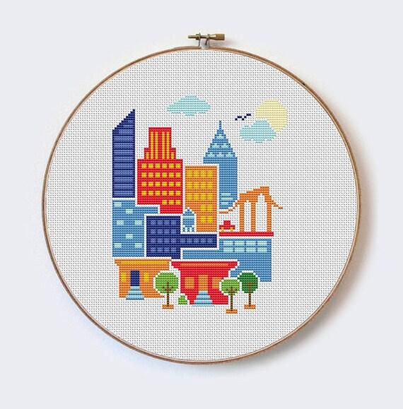 New York City Modern Cross Stitch Pattern Pdf Format