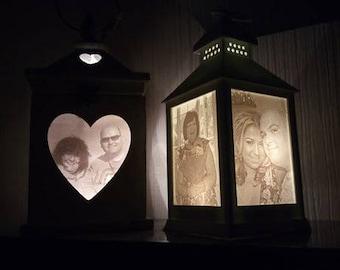 Custom made 3D printed lithophane lanterns - wooden or plastic