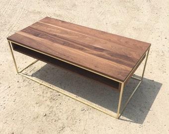 Plastolux Cube Coffee Table, Brass and Walnut