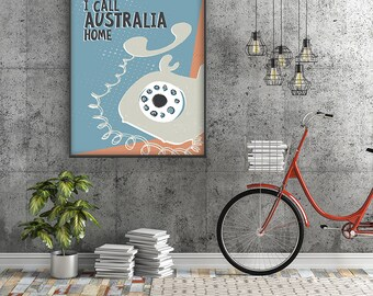 I CALL AUSTRALIA HOME Mid Century Retro Scandinavian Inspired Poster Print, Vintage Phone Art Print, Australiana Home Decor Wall Art