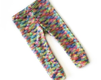Little Mermaid Leggings- rainbow mermaid scales - Baby Toddler kid -Fish Scale Leggings- mermaid leggings- iridescent fish pants- multicolor