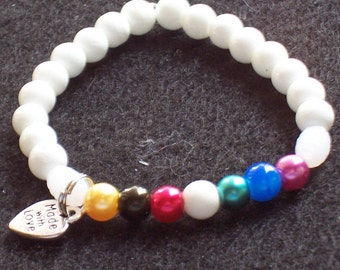 Salvation Stretch Bracelet. Christian Bracelet ,White Bracelet,  Colors of Faith  Free Shipping