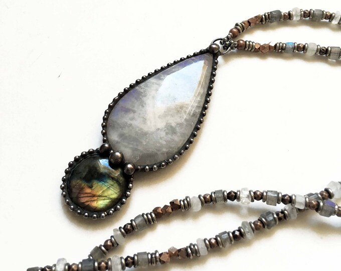 Rainbow Moonstone and Labradorite Beaded Crystal Necklace