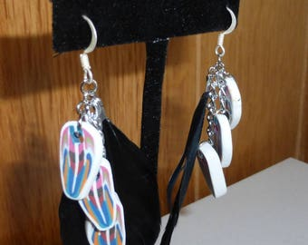 Colorful feathers earrings in polymer clay