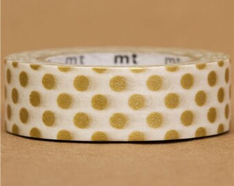 169888 mt Washi Masking Tape deco tape with gold polka dots