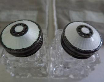 Hroar Prydz, Guilloche white enamel and sterling salt and pepper shakers, from Georg Jensen