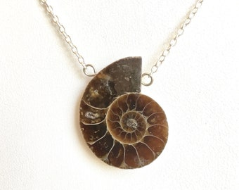 Ammonite Fossil Necklace - Nautilus Necklace, Ammonite Pendant, Sterling Silver