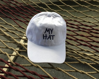 My Hat - White Hat With Navy Blue Letters
