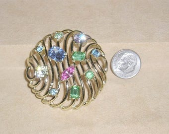 Vintage Signed Kramer Domed Brooch With Pastel Rhinestones Stylish 1960's Jewelry 11300