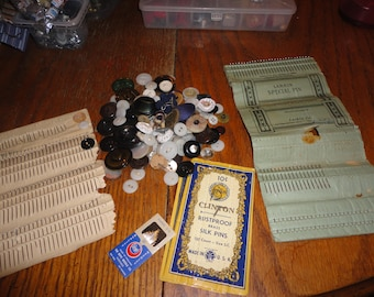 SALE ! Lot of vintage old buttons and pins sewing estate